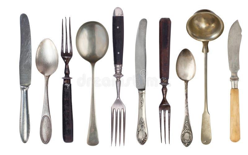 Установите красивых античных деталей, старого silverware o r r стоковые изображения rf