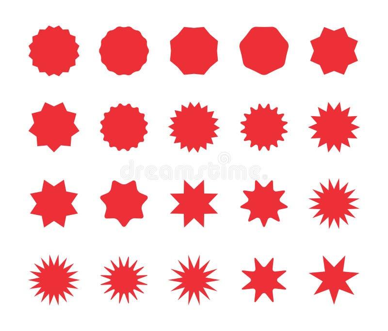 Установите красных значков starburst Пустые стикеры цены предложения скидки, бирка продажи предложения иллюстрация вектора