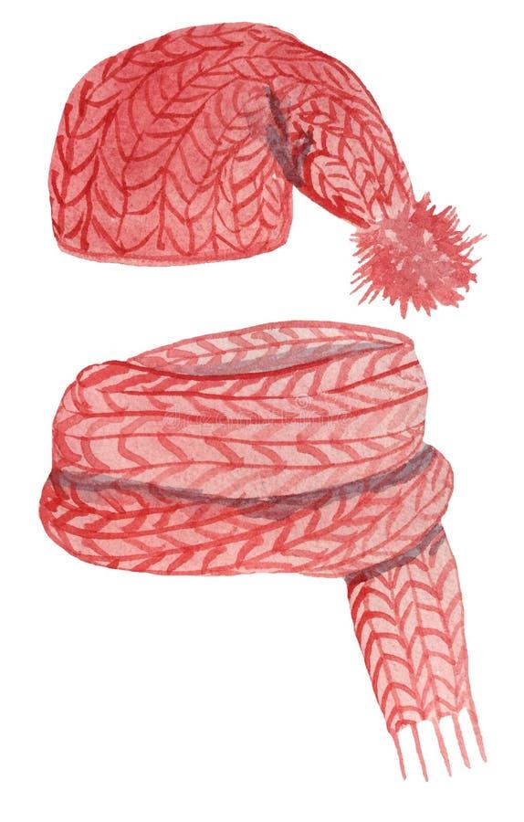 Установите красных связанных шляпы и шарфа на белой предпосылке иллюстрация акварели для дизайна бесплатная иллюстрация