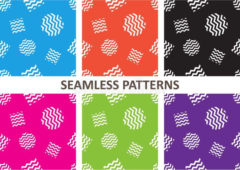 Установите красочной яркой геометрической картины с кругами и квадратом также вектор иллюстрации притяжки corel иллюстрация штока