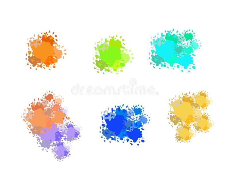Установите красочных абстрактных пятен текстуры акварели с брызгает и распыливает бесплатная иллюстрация
