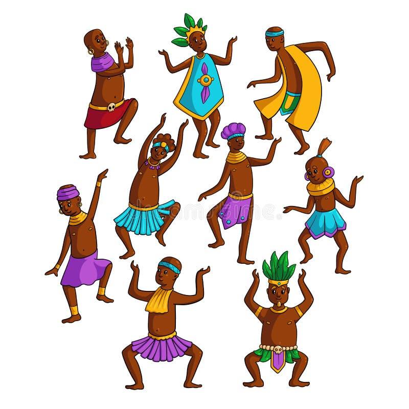 Установите красочных африканских людей племени танцуя в круге иллюстрация вектора