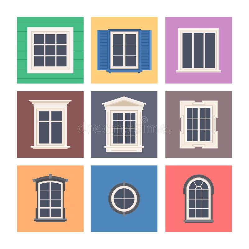 Установите красочных ветровых стекол стоковые фото