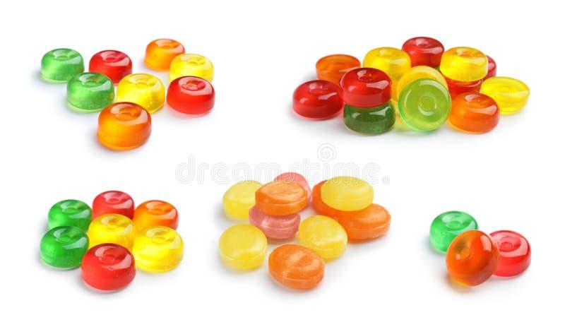 Установите красочных вкусных трудных конфет на белизне стоковая фотография rf