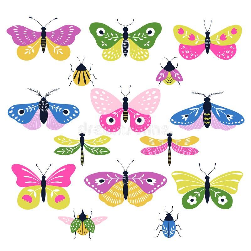 Установите красочных декоративных фольклорных насекомых иллюстрация штока