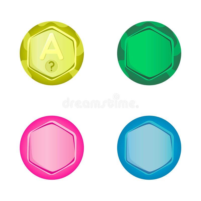 Установите красочных кнопок для интерфейса игры Иллюстрация вектора, мультфильм иллюстрация вектора