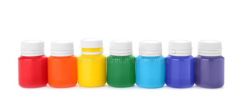 Установите красочных красок гуаши на белой предпосылке стоковая фотография rf