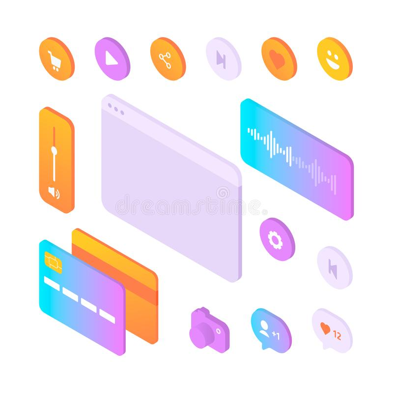 Установите красочных равновеликих элементов пользовательского интерфейса иллюстрация вектора