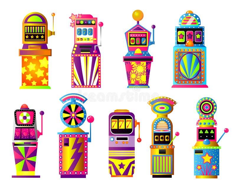 Установите красочных торговых автоматов, удачливый, казино города золота иллюстрация штока