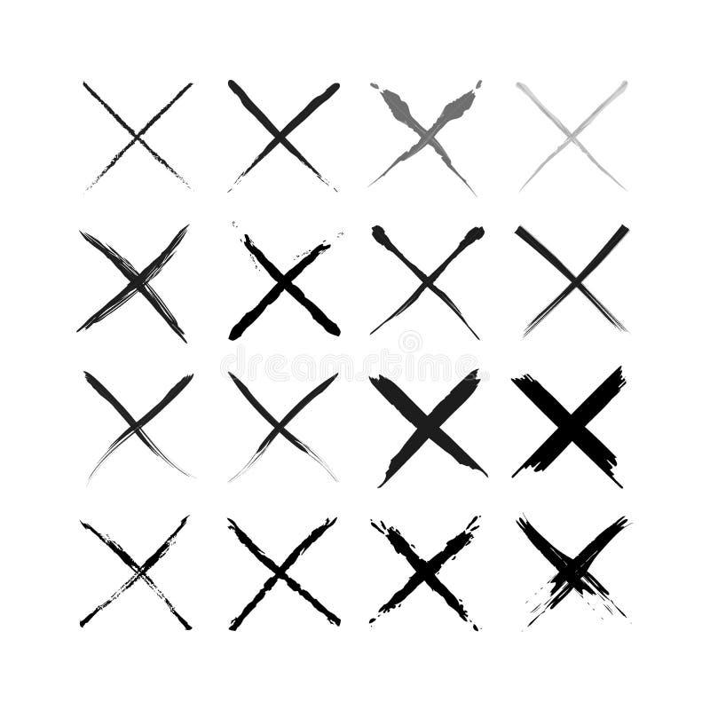Установите крестов милой руки вычерченных Делать эскиз к стиля Doodle также вектор иллюстрации притяжки corel иллюстрация вектора
