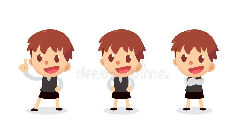 Установите крошечного характера коммерсантки в действиях Поговорите и поговорите иллюстрация штока