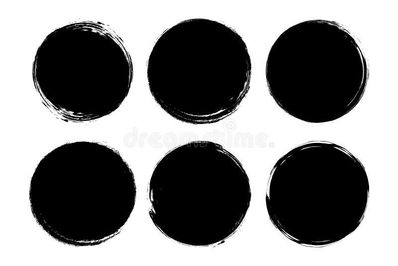 Установите круга, grunge, черной краски, чернил, грязных ходов щетки Творческие элементы для вашего дизайна бесплатная иллюстрация