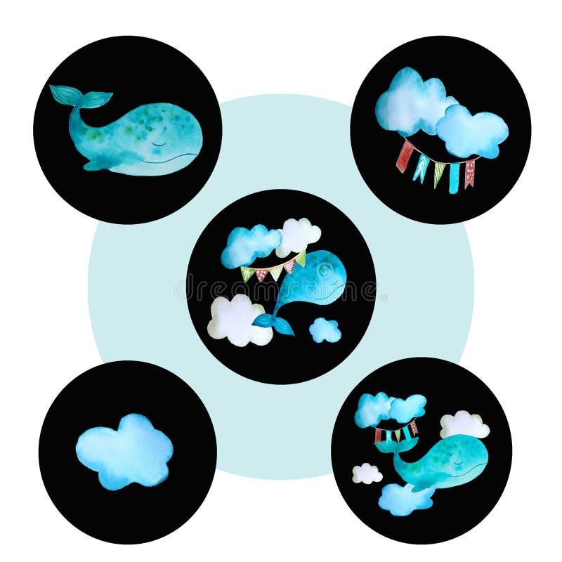 Установите круглого покрашенного кита значков иллюстрация штока