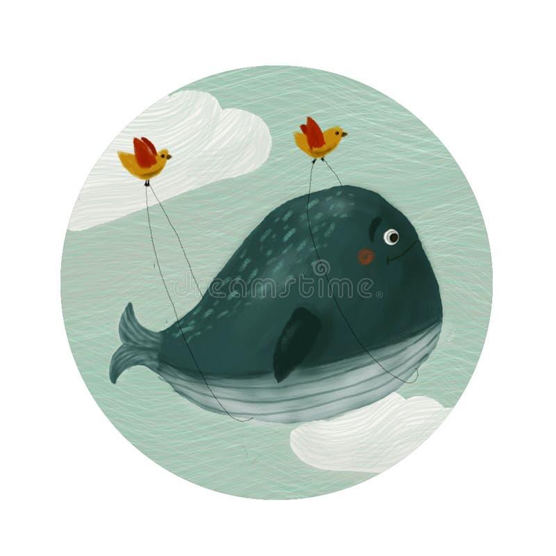 Установите круглого покрашенного кита значков иллюстрация вектора