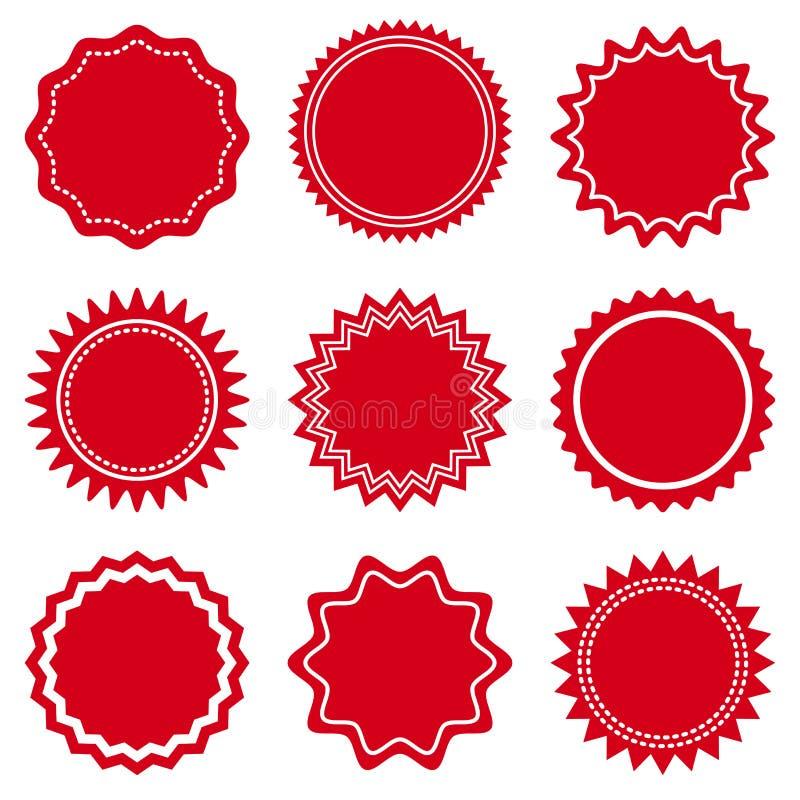 Установите круглых красных этикеток на день Валентайн r иллюстрация вектора