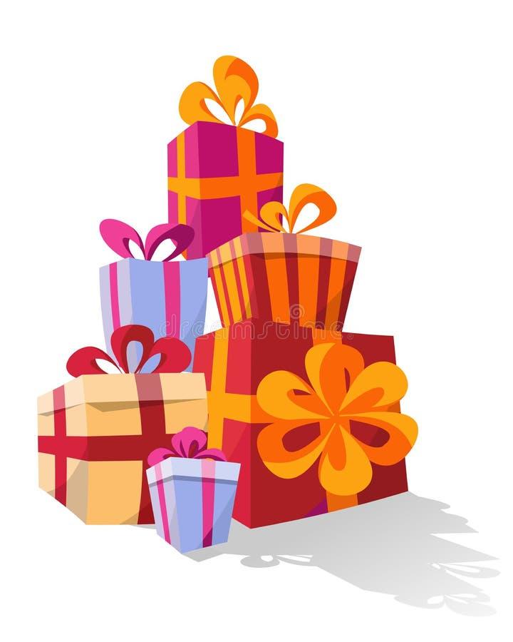 Установите куч красочных изогнутых подарочных коробок Подарки горы Милая присутствующая коробка со смычками r Сюрприз иллюстрация штока