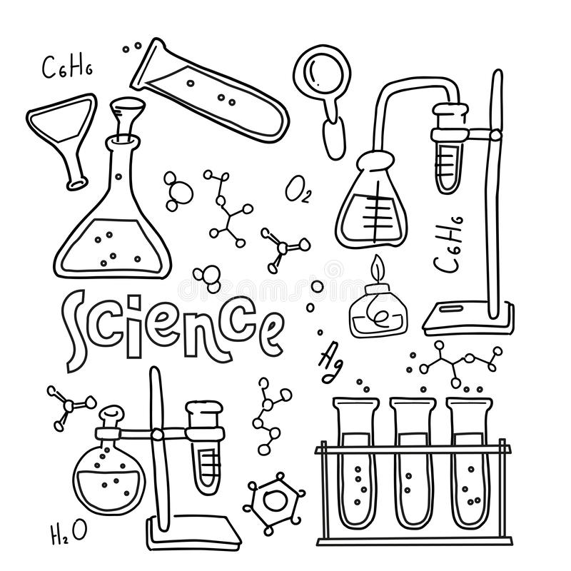 Установите лабораторного оборудования в черно-белом законспектированном стиле doodle Химия руки вычерченные ребяческие и набор зн бесплатная иллюстрация