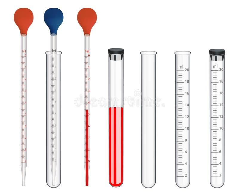 Установите лабораторного оборудования Стеклянные измеряя инструменты и особенные блюда Пипетки с масштабом и резиновой грушей пол бесплатная иллюстрация