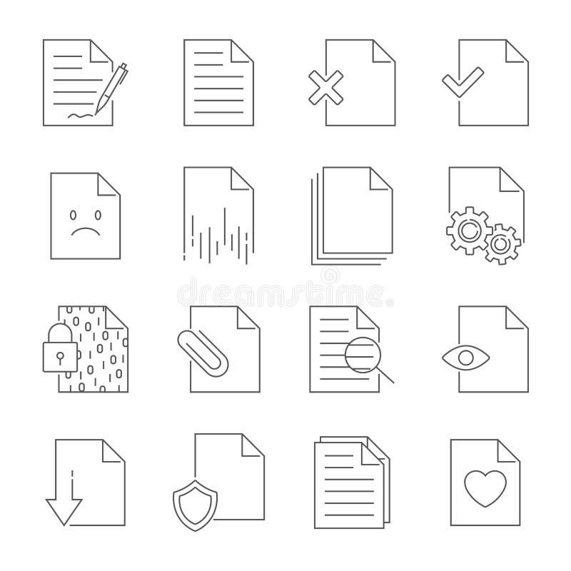 Установите линии значков вектора управления подачи документа : иллюстрация штока