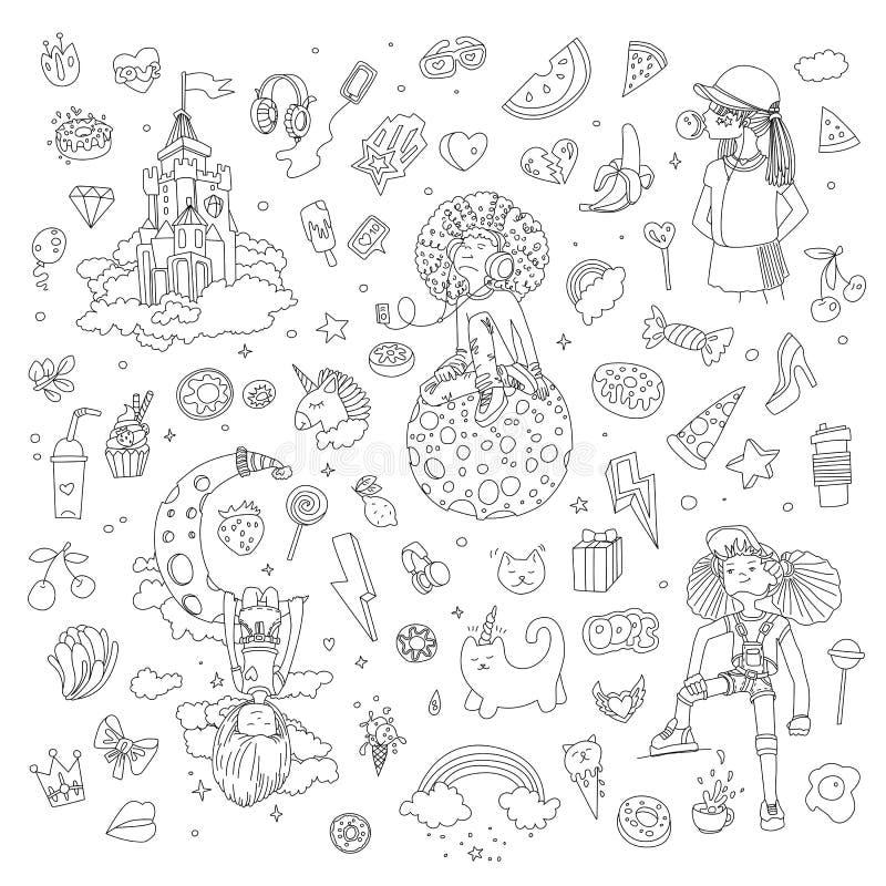 Установите линии значков девочка-подростка, объектов милого мультфильма предназначенных для подростков, линии вектора потехи диза иллюстрация вектора