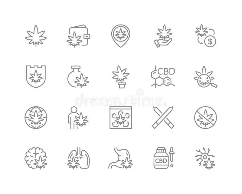 Установите линии значков cannabidiol CBD, конопля, масло марихуаны, обработка, засоритель, табак, бутоны цветка пеньки и больше иллюстрация вектора