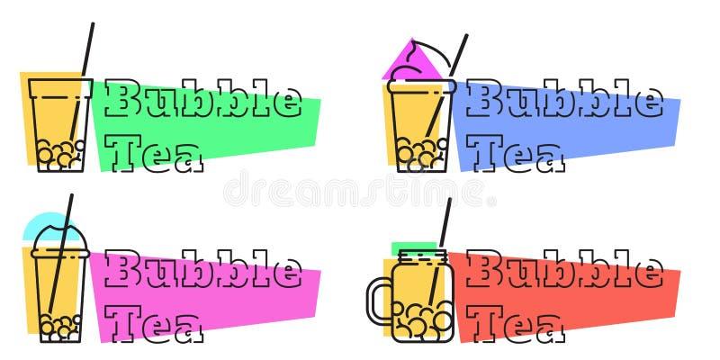 Установите линии ярлыков вектора значков чая пузыря иллюстрация вектора