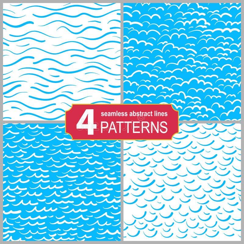 Установите линий картин руки вычерченных безшовных морских Абстрактная затрапезная текстурированная предпосылка бесплатная иллюстрация