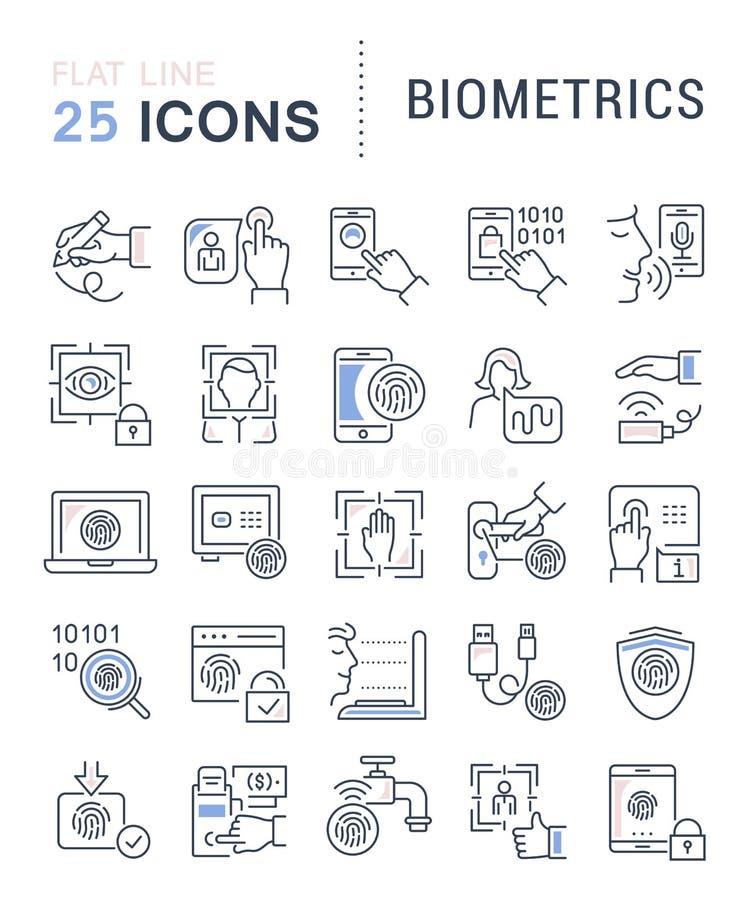 Установите линию значки вектора биометрии иллюстрация штока