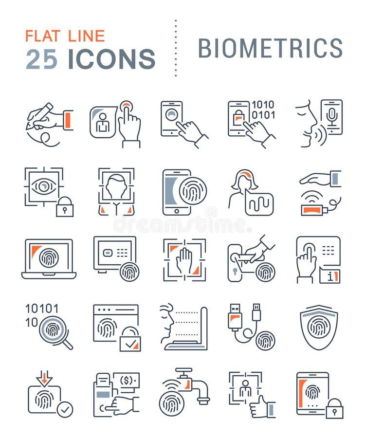 Установите линию значки вектора биометрии бесплатная иллюстрация