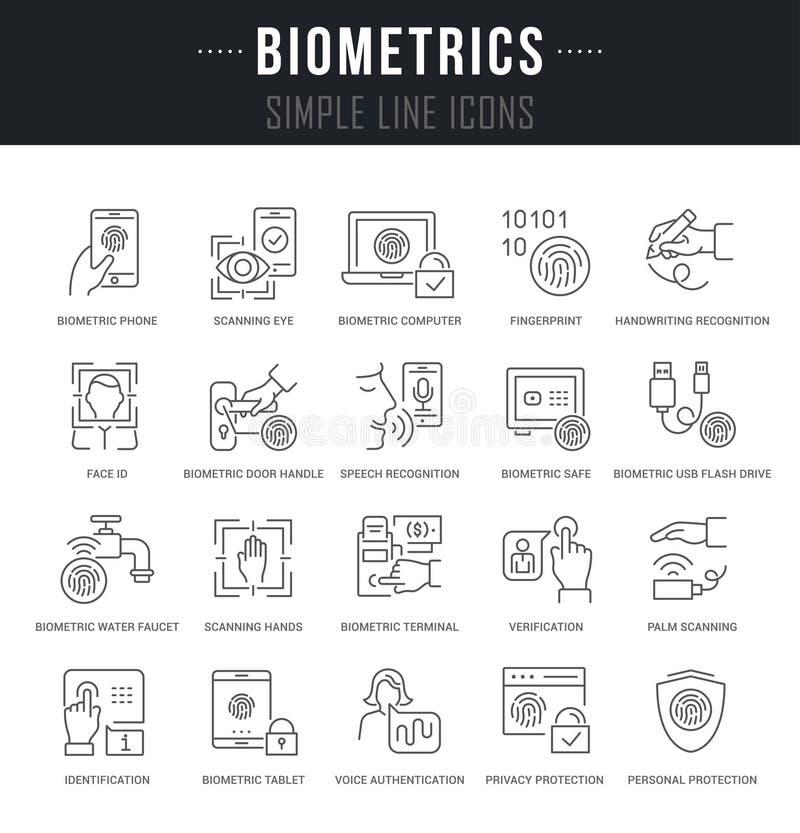 Установите линию значки вектора биометрии иллюстрация вектора