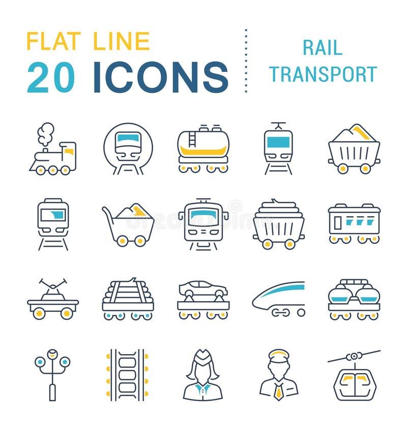 Установите линию значки вектора железнодорожного транспорта иллюстрация вектора