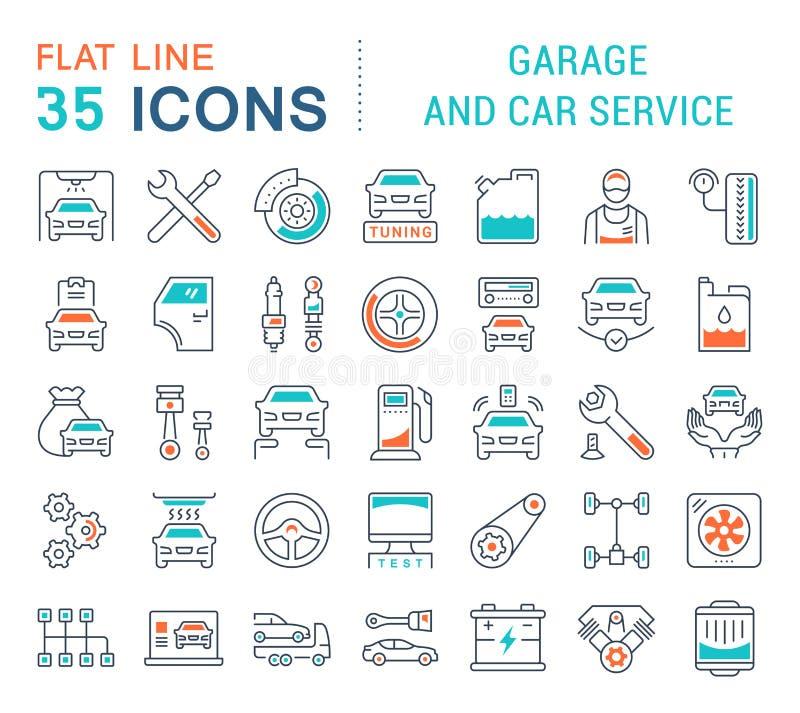 Установите линию значки вектора обслуживания гаража и автомобиля бесплатная иллюстрация