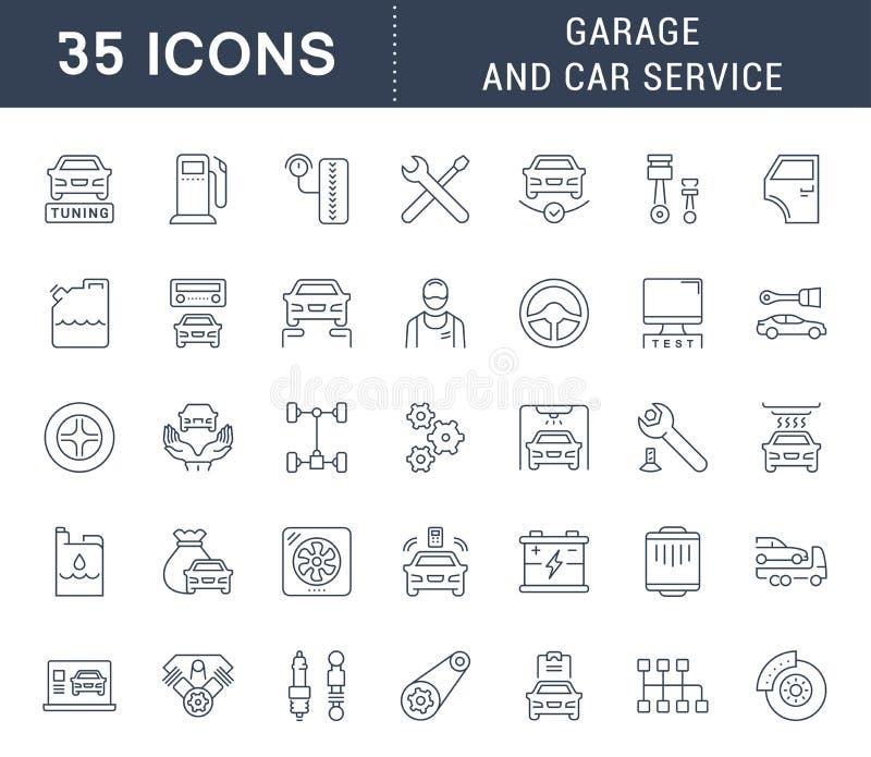Установите линию значки вектора обслуживания гаража и автомобиля иллюстрация штока