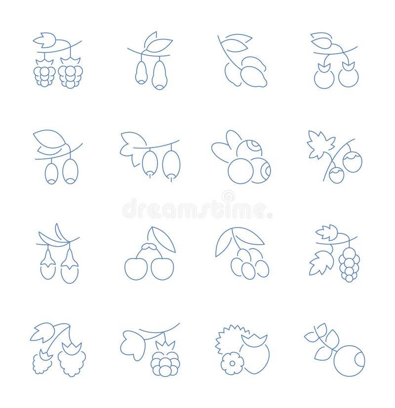 Установите линию значки вектора ягод бесплатная иллюстрация