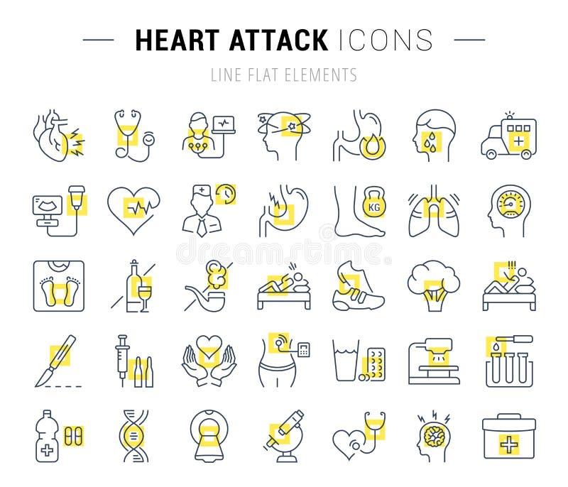 Установите линию сердечный приступ вектора плоскую значков иллюстрация штока