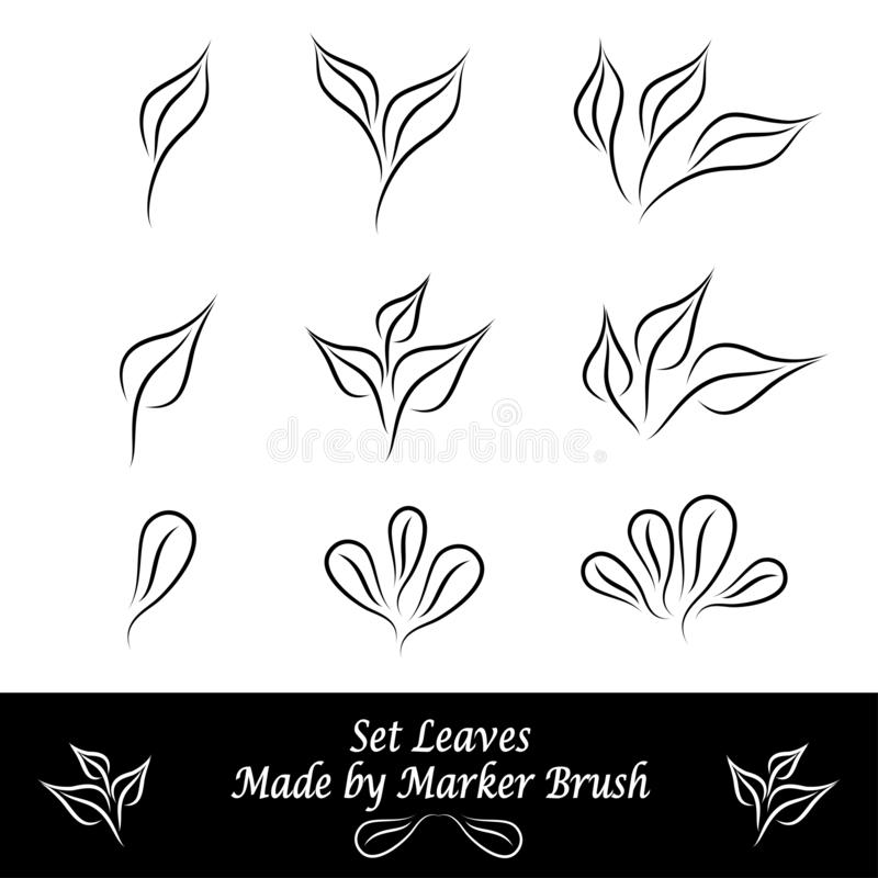Установите листьев сделанных щетками отметки в черноте иллюстрация штока