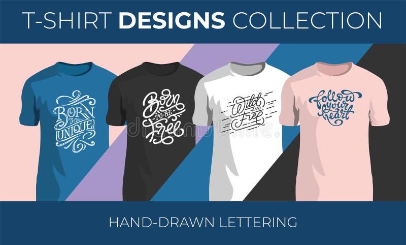 Установите литерности вектора руки вычерченной для дизайна футболки Винтажное рукописное собрание оформления r иллюстрация вектора