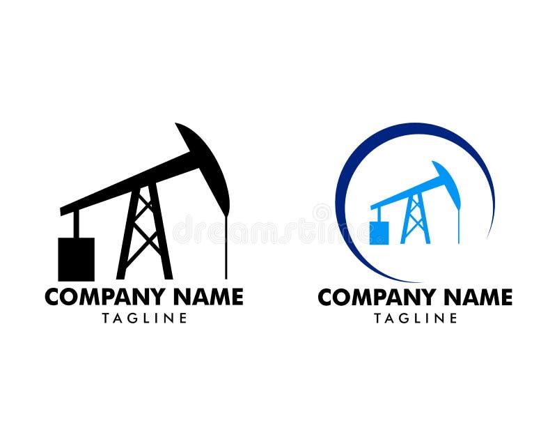 Установите логотипа значка насоса полевой штанга для нефтяной промышленности нефти и газ иллюстрация штока