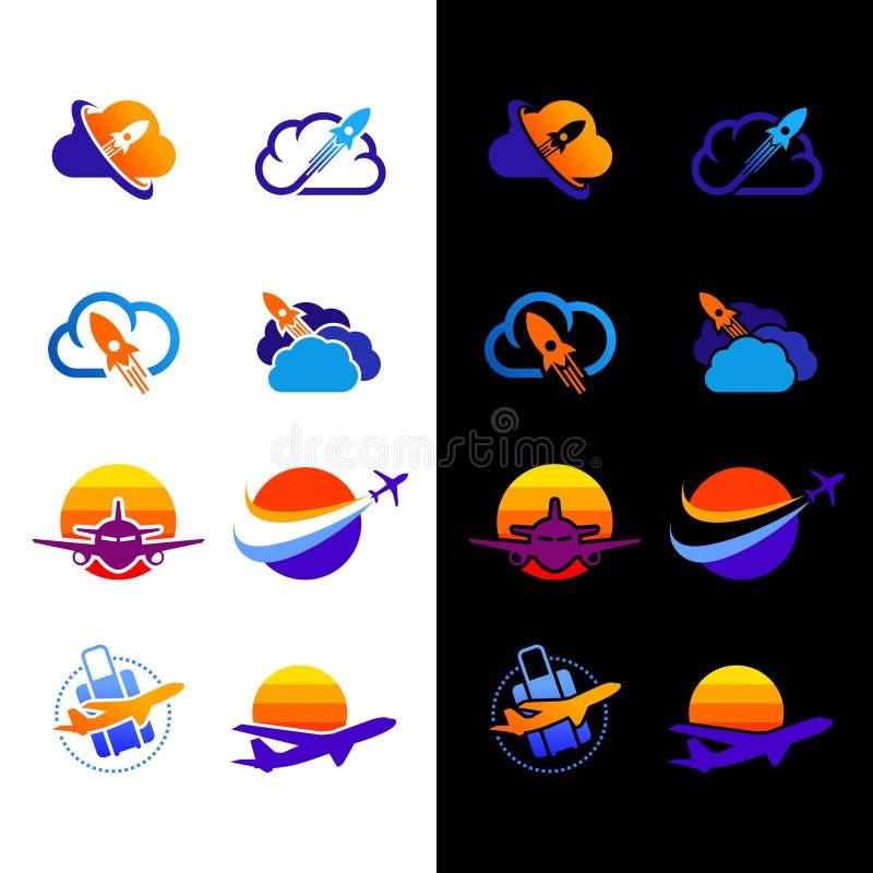 Установите логотипа ракеты с облаком бесплатная иллюстрация