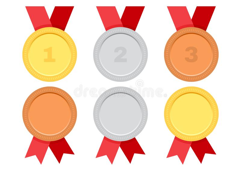 Установите медалей награды с красной лентой Золото, серебр и бронза вектор иллюстрация вектора