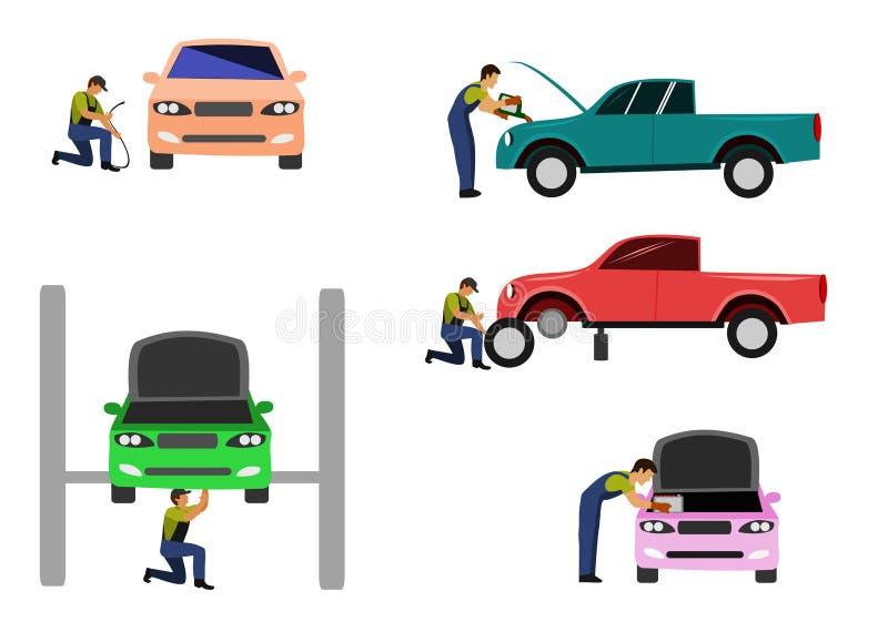 Установите механика автомобиля проверяет автомобили в пункте обслуживания автомобиля на белой предпосылке бесплатная иллюстрация