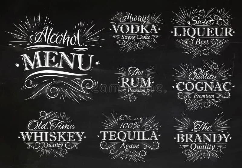 Установите мел меню спирта