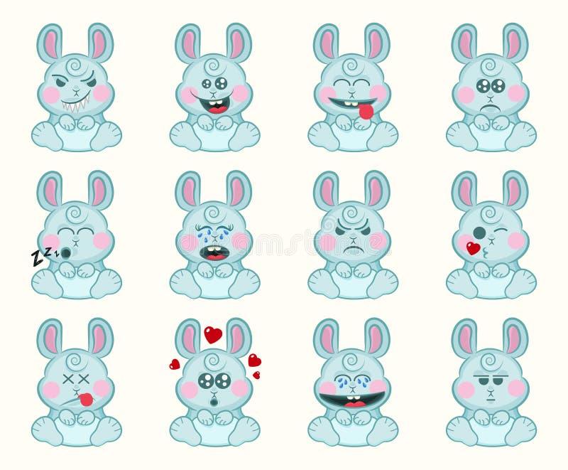 Установите милого зайчика с различными эмоциями Сторона кролика мультфильма характера Иллюстрация смайлика воплощения Emoji зайчи бесплатная иллюстрация