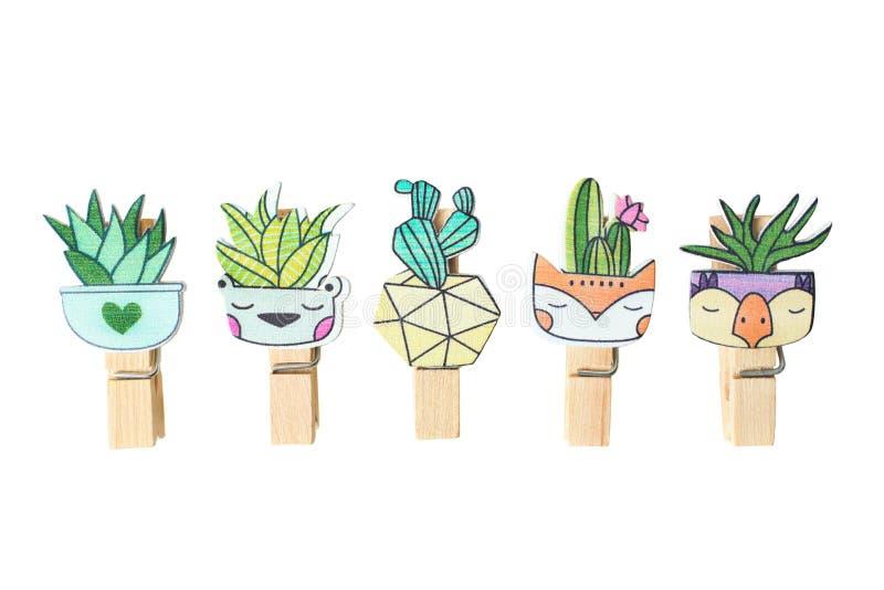 Установите милого кактуса kawaii мультфильма стоковые фото