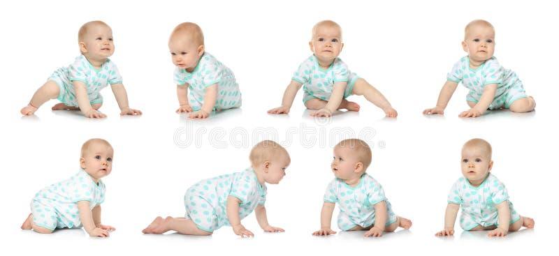 Установите милого маленького младенца вползая на белизне стоковые фотографии rf