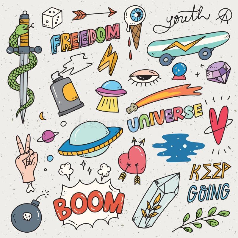 Установите милого стикера, граффити doodle, заплаты моды иллюстрация штока