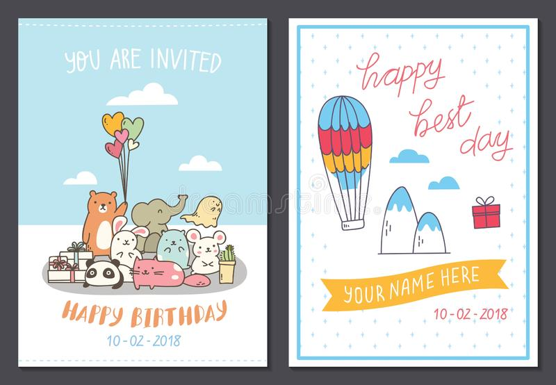 Установите милого шаблона дизайна поздравительой открытки ко дню рождения иллюстрация вектора