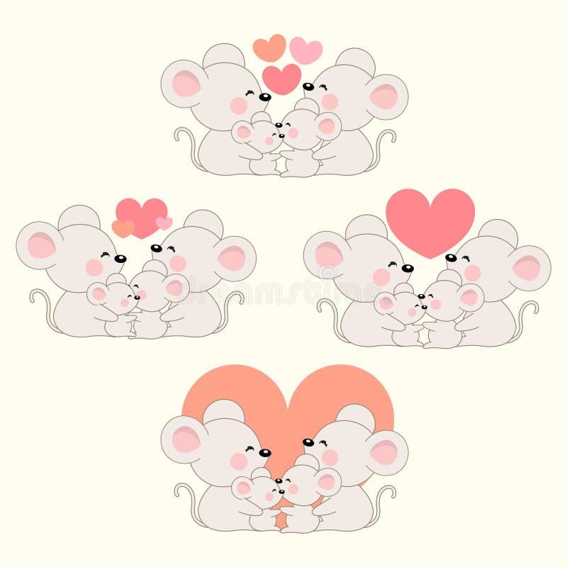 Установите милой счастливой семьи крысы бесплатная иллюстрация