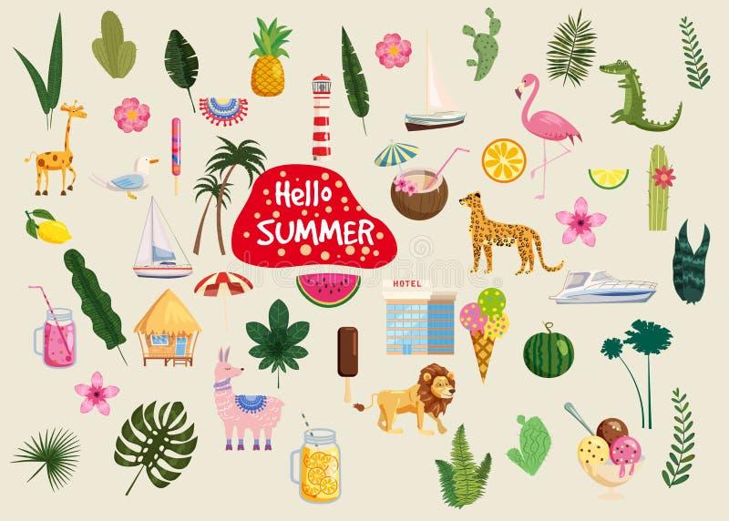 Установите милой ультрамодной еды значков лета здравствуйте, напитков, кактуса, цветков, листьев ладони, плодов, мороженого, бунг иллюстрация вектора