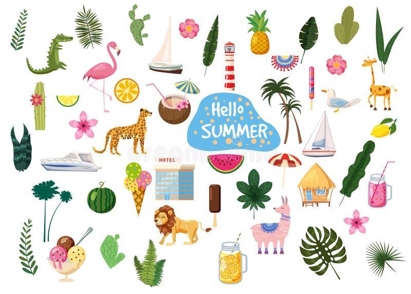 Установите милой ультрамодной еды значков лета здравствуйте, напитков, кактуса, цветков, листьев ладони, плодов, мороженого, бунг иллюстрация штока
